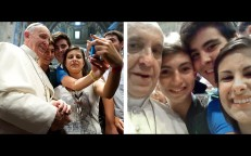 Aug. 28, 2013 - Pope Francis takes a selfie inside St. Peter's Basilica with youths