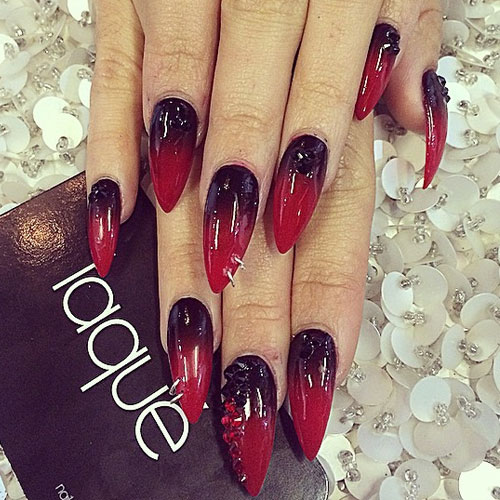 Vanessa Hudgens Nails Black Red Ombré