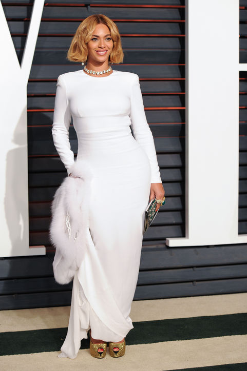 Beyonce in white 2015 Oscars academy awards red carpet
