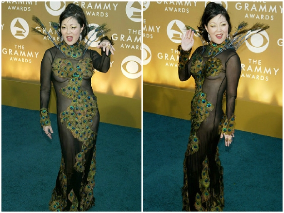 Comedienne Margaret Cho peacock outfit at the 46th Grammy Awards in 2004