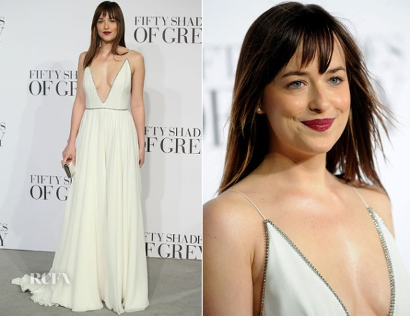 Dakota Johnson in Yves Saint-Laurent at the Fifty Shades Of Grey Premiere in London