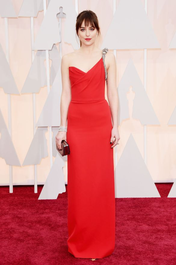Dakota Johnson in Saint Laurent 2015 Oscars academy awards red carpet