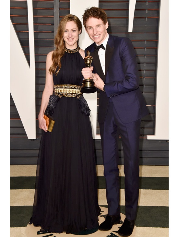 Eddie Redmayne & Wife Hannah Bagshawe both in Alexander McQueen 2015 Oscars academy awards red carpet