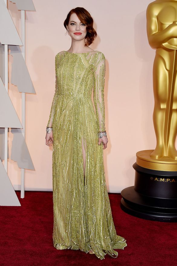 Emma Stone in Elie Saab 2015 Oscars academy awards red carpet