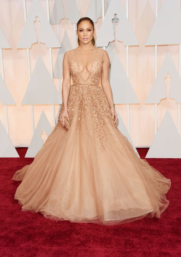 Jennifer Lopez in Elie Saab 2015 Oscars academy awards red carpet