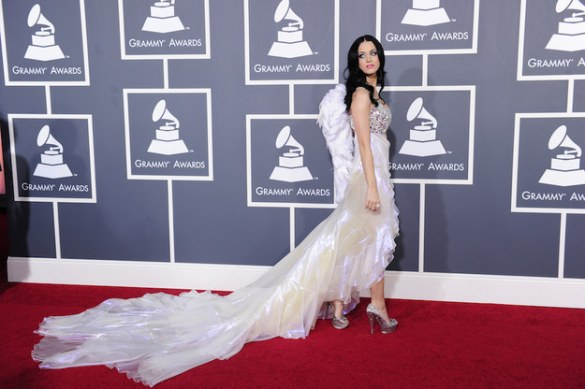 Katy Perry Victoria's Secret Angel outfit at the 53rd Grammy Awards half dress half costume look