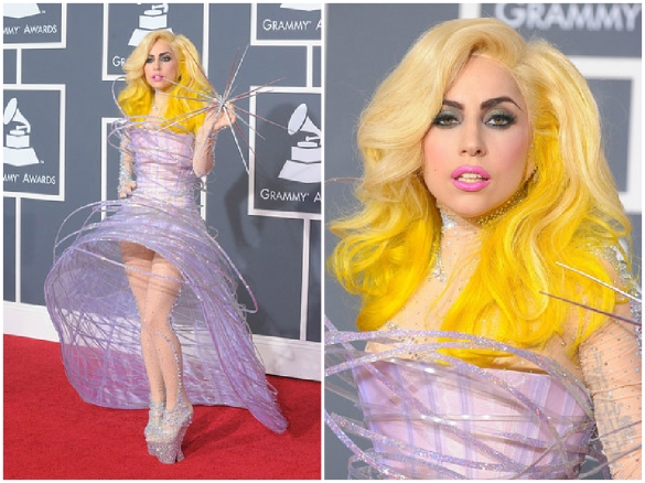 Lady Gaga star outfit dress at the 52nd Grammy Awards