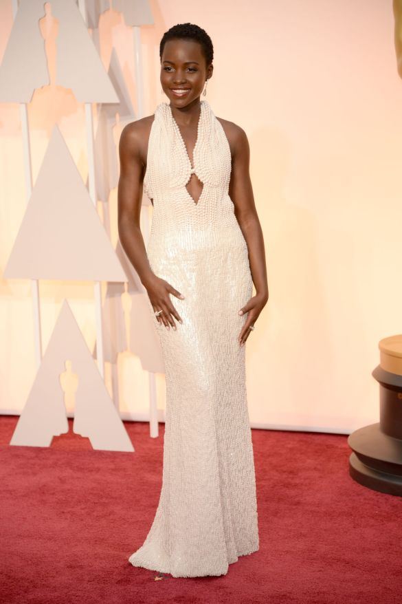 Lupita Nyong'o in Calvin Klein 2015 Oscars academy awards red carpet