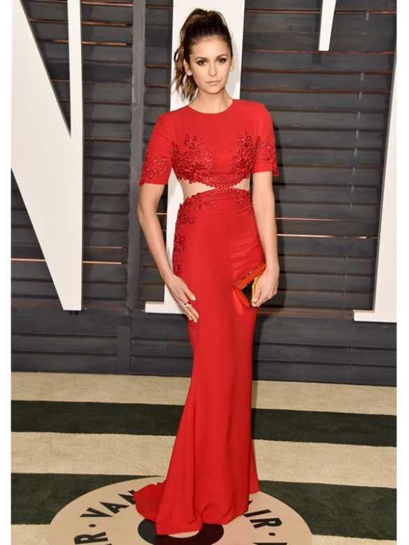 Nina Dobrev in Reem Acra 2015 Oscars academy awards red carpet