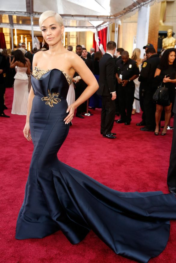 Rita Ora in Marchesa 2015 Oscars academy awards red carpet
