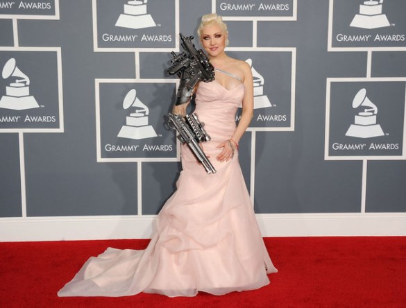 Sasha Gradiva channeled The Terminator with her heavy metal armwear at the 54th Grammy Awards in 2012