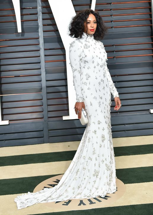 Solange in Naeem Khan 2015 Oscars academy awards red carpet